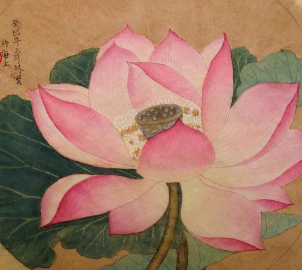 Chinese bloemen schilderij op zijde