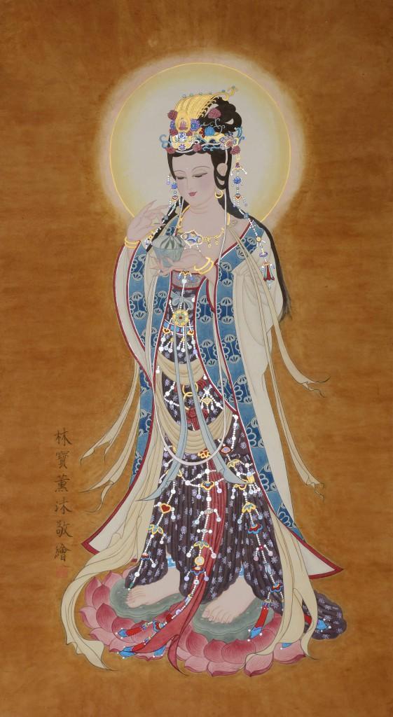 Chinees schilderij. Afbeelding: GuanYin, Boddhisattva uit de Tang Dynasty Afmetingen: 160cm x 88cm Materiaal: Chinees rijst papier, plantaardige- en minerale pigmenten en goud. Geschilderd door Bao Bao Lin - Shanghai 2013
